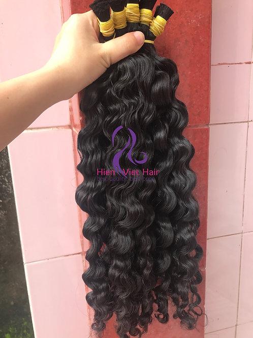 Curly bulk hair - 100% human virgin hair from single donor