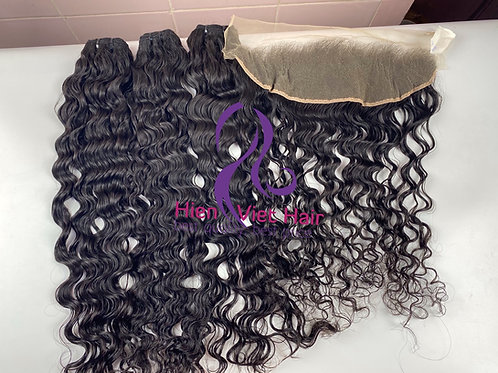 Big curly hair bundles with matching 13x4 lace frontal - 100% human hair