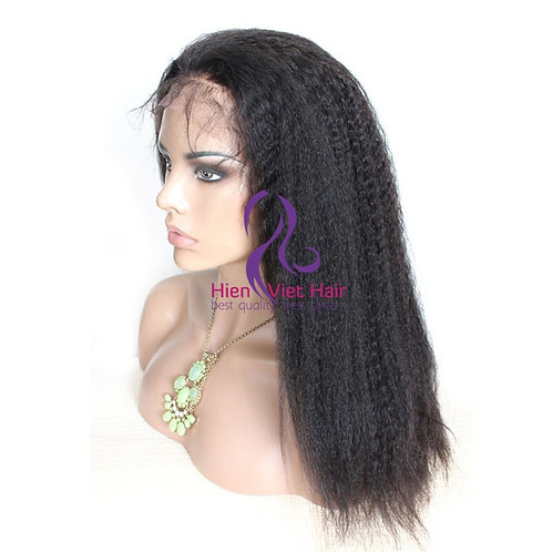 Kinky straight full lace wig with adjustable band, 100% virgin hair, swiss lace