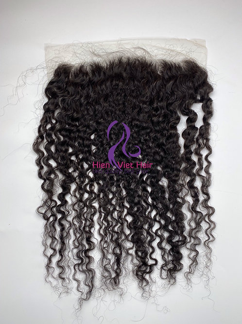 Curly 13x4 lace frontal with transparent lace and human hair