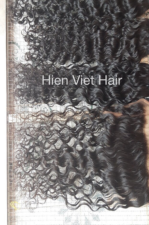 Burmese curly hair weave with matching frontal - top quality hair with best pric