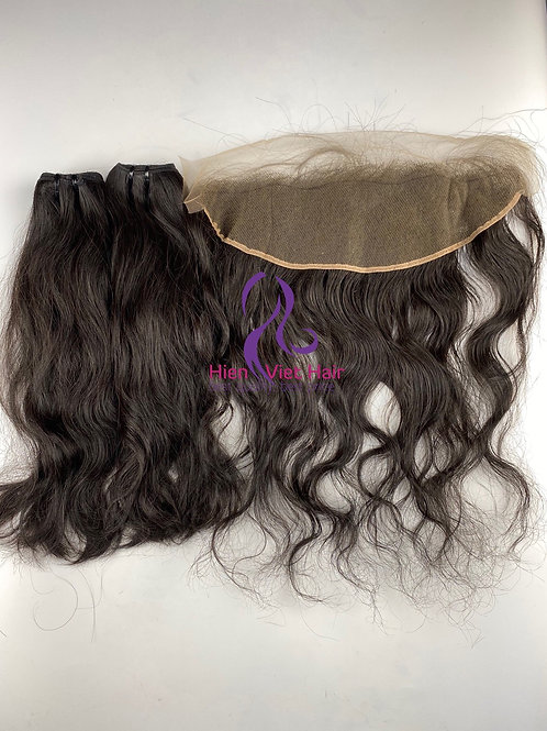 Natural wave hair with match frontal - 100% virgin hair - best price