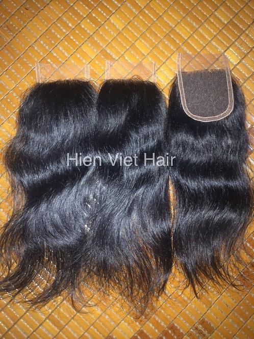 Natural wave lace closure 4x4 made by 100% natural wave human hair