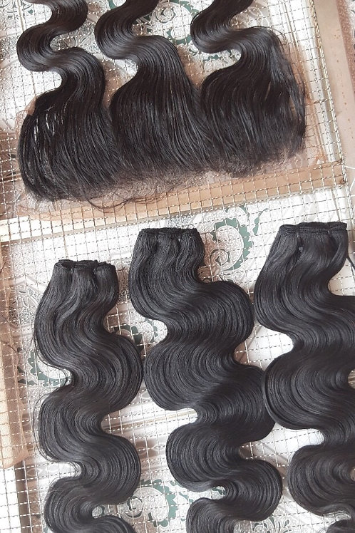 Body wave lace frontal 13x4 made by virgin hair - no shedding, free tangle