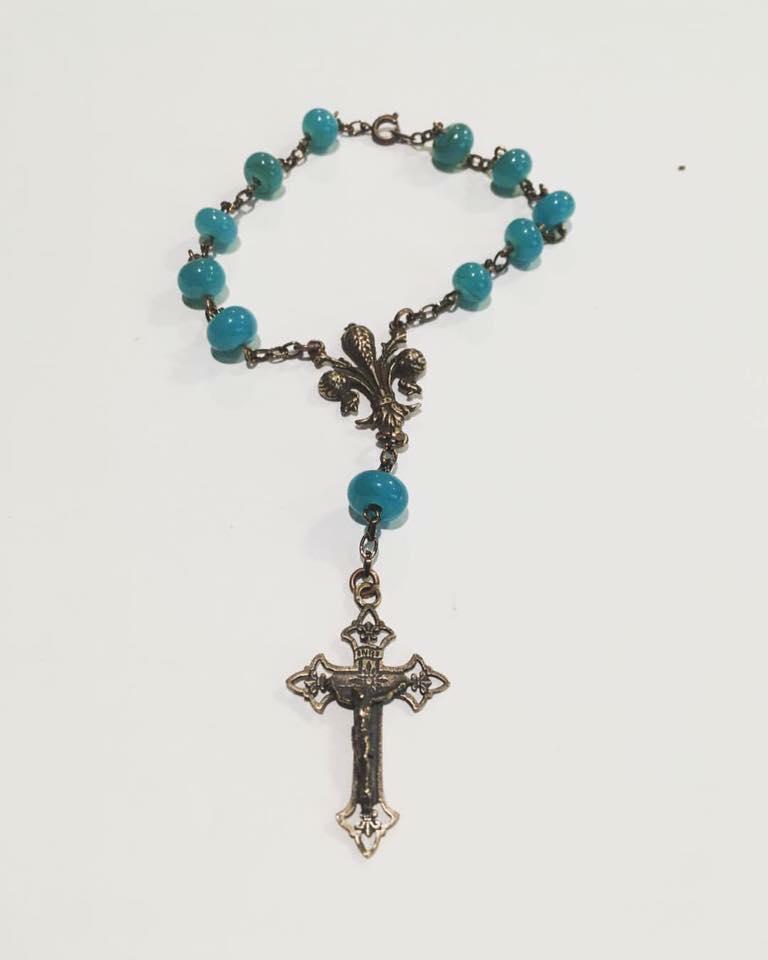 Turquoise Fleur de Lis Rosary