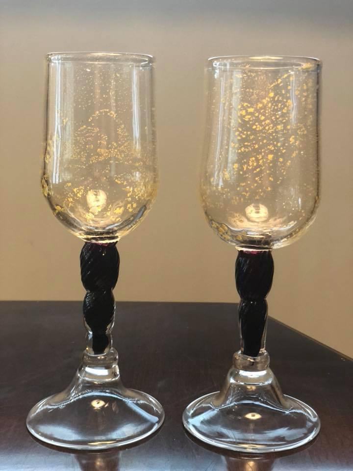 23k Gold Leaf & Tr Violet Goblets