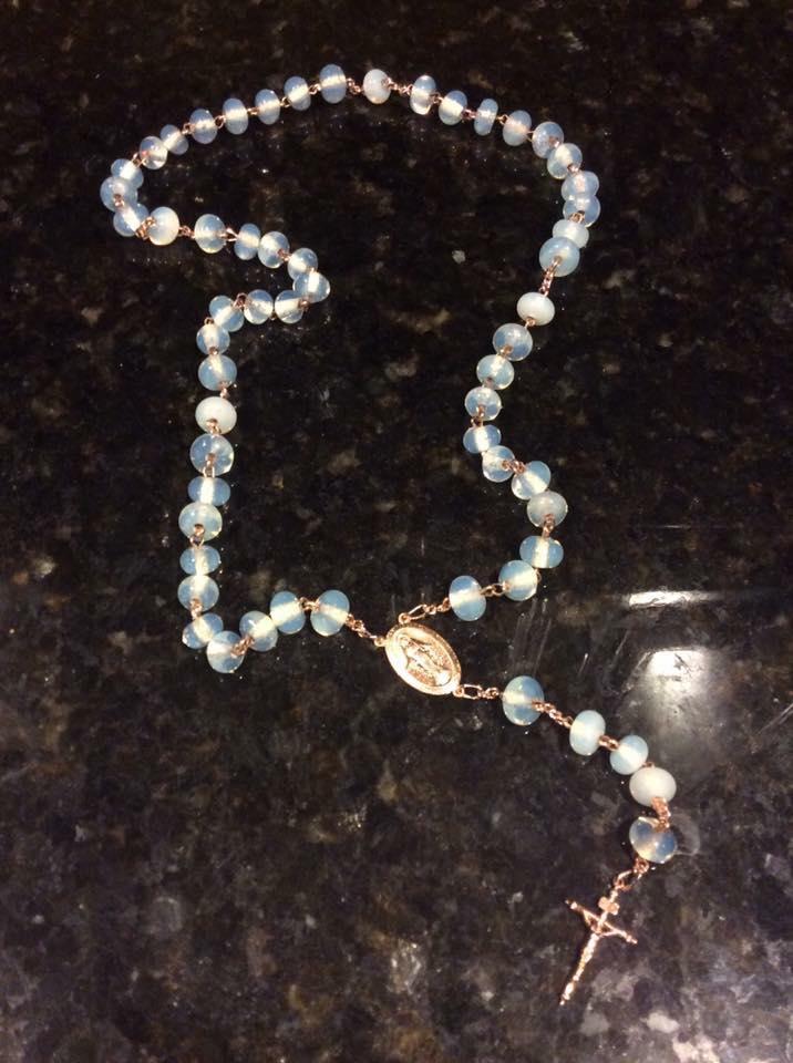 Moonstone & 10k Rose Gold Rosary