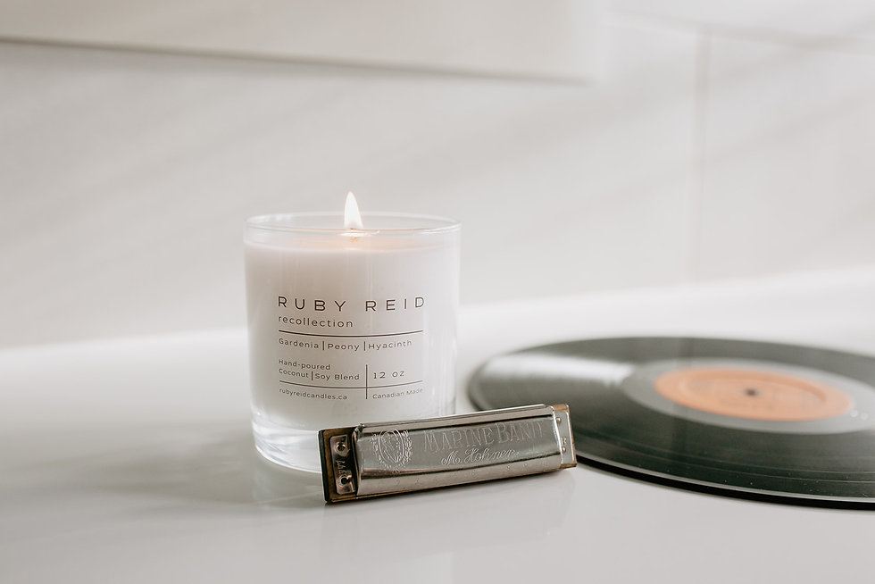 Ruby Reid Gardenia, Peony, Hyacinth candle with a harmonica and vinyl record