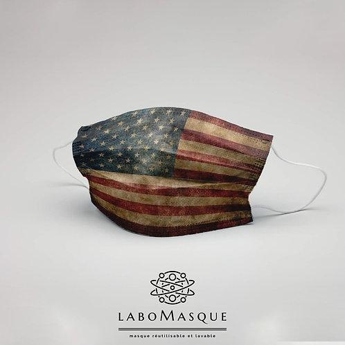 Masque barrière Drapeau Américain USA - Masque en tissu alternat