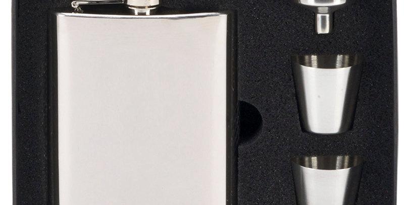 GL HS012 Mirror Polished 8oz Hip Flask Set