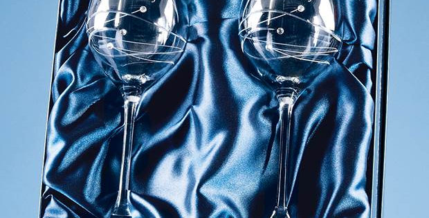 CG SL209 2 Diamante Wine Glasses with Spiral Design Cutting in a Satin Lined Gif