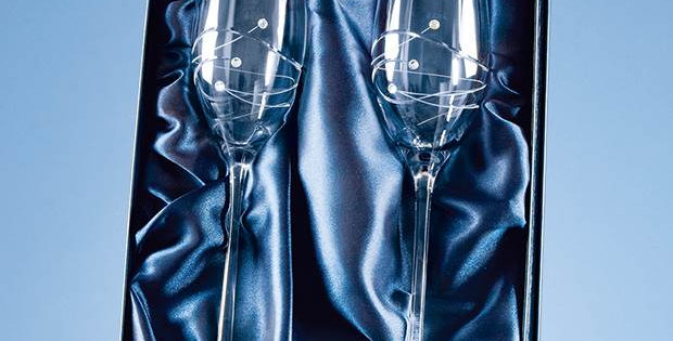 CG SL211 2 Diamante Champagne Flutes with Spiral Design Cutting in a Satin Lined
