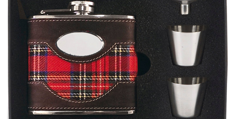 GL HF010 Leather & Tartan Hip Flask Set