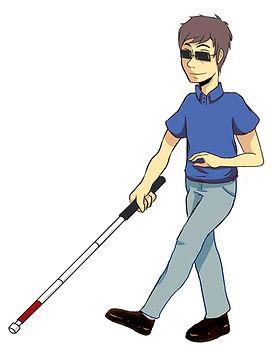 Man holding white cane