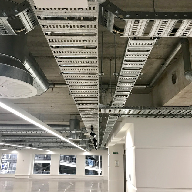 Commercial Base build cable tray installation example