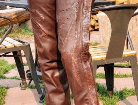 Chaps Brown w/Croc Embossed Inlays