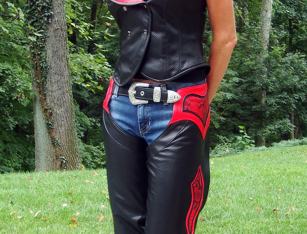 Women's Motorcycle Chaps Black/Red