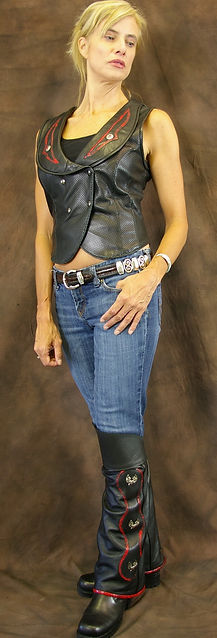 Motorcycle Leather Vest and Half Chaps