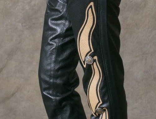 Women's Motorcycle Chaps Black/Vanilla