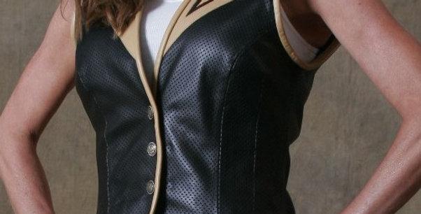 Women's Single Breasted Black/Vanilla Vest