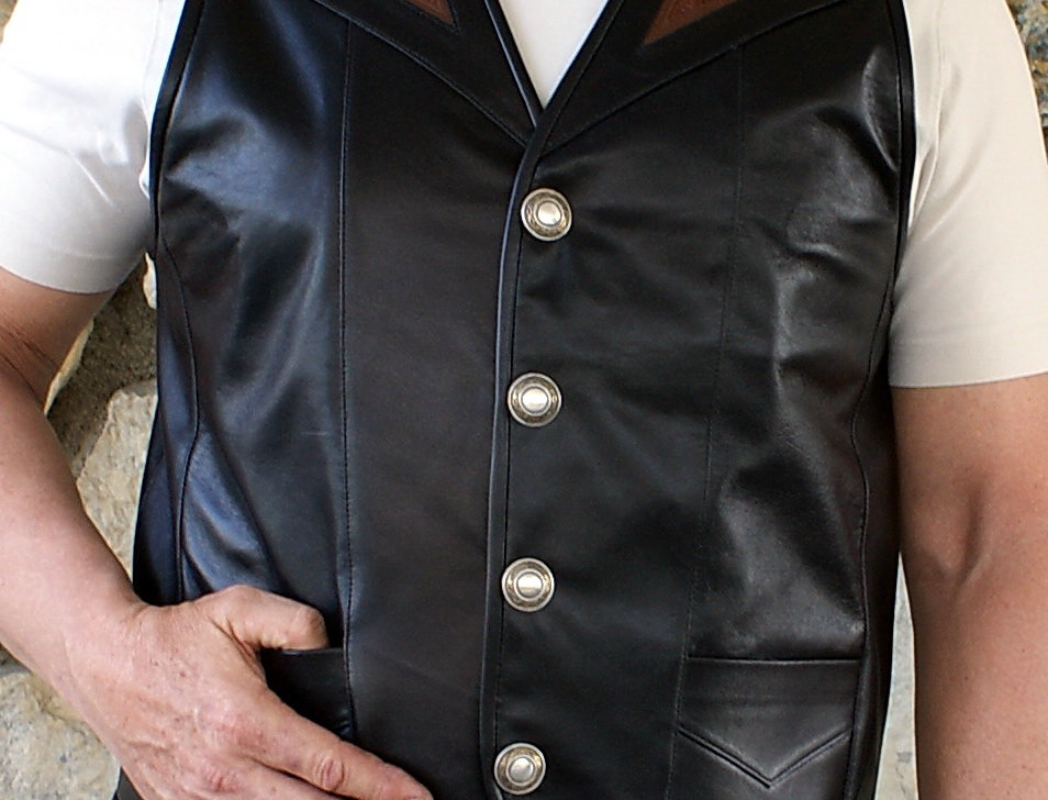 Men's Black with Crocodile Leather Vest