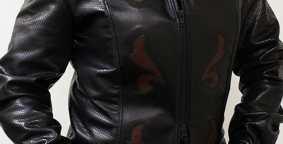 Women's Black Leather Jacket With Accent Inlays