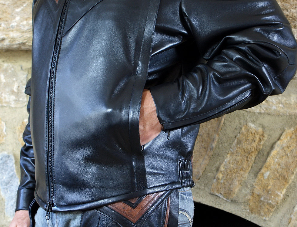 Men's Black Leather Jacket With Accent Inlays