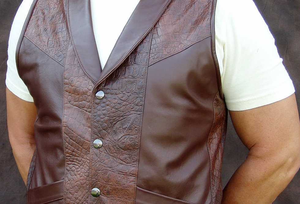 Men's Chocolate Classic Leather Vest with Collar