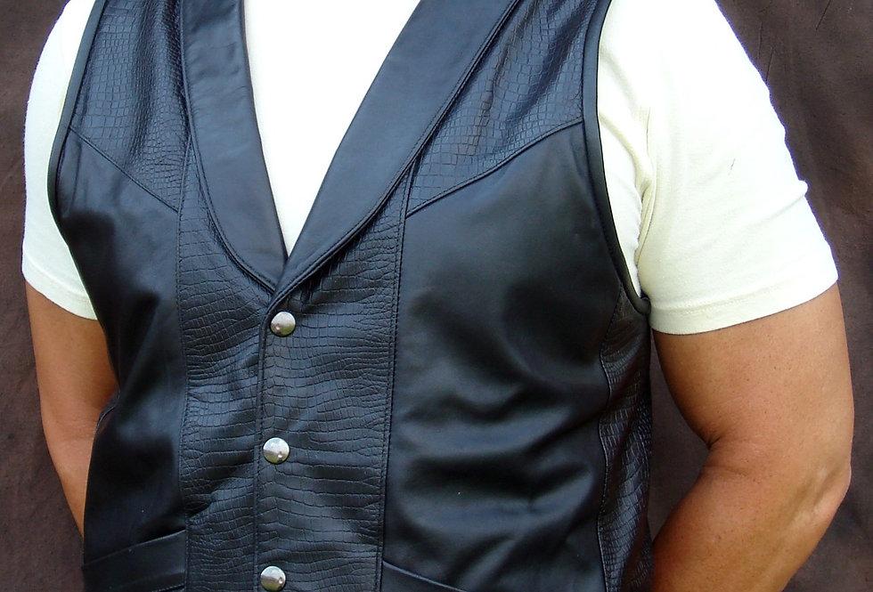 Men's Black Classic Leather Vest with Collar