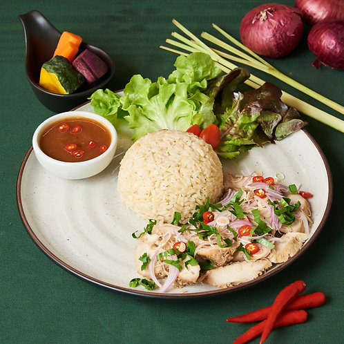 B18ข้าวยำไก่แซ่บสมุนไพร SPICY GRILLED CHICKEN SALAD WITH LEMONGRASS AND MINT