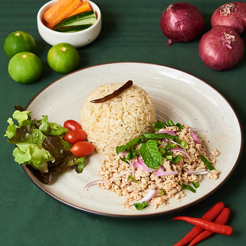 P007 ลาบหมู LARB PORK ( THAI SPICY MINCED PORK)