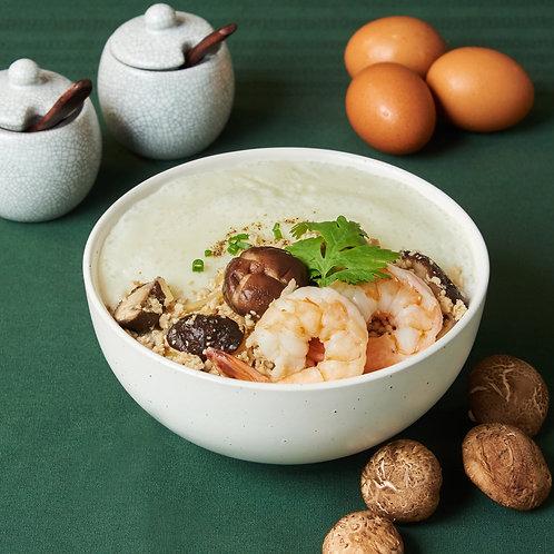 C004 โจ๊กไข่ขาว EGG WHITE CONGEE WITH STIR FRIED MINCED CHICKEN AND SHRIMP