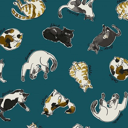 Dogs and Cats Linen/Cotton Canvas