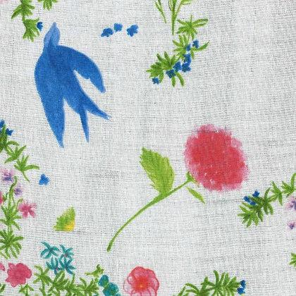 Nani Iro Birds and Floral White Double Gauze
