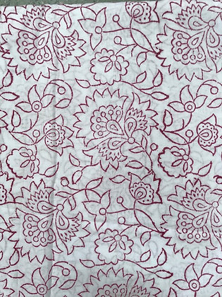 Indian Block Print Cotton Lawn Red Line Work on White
