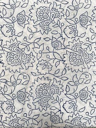Indian Block Print Cotton Lawn Navy Line Work on White
