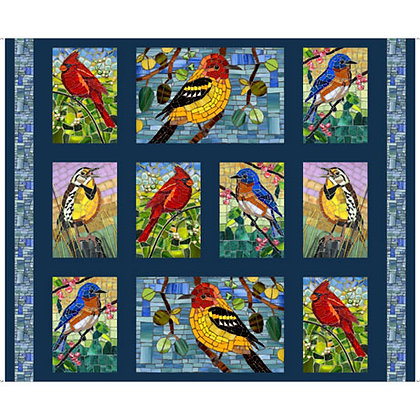Glass Menagerie Mosaic Birds Patches Panel