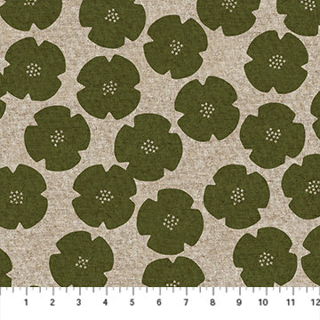 Harmony Green Floral Linen/Cotton Canvas