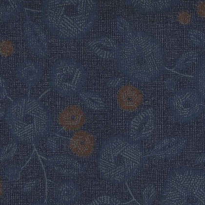 Navy Floral Linen/Cotton Sheeting