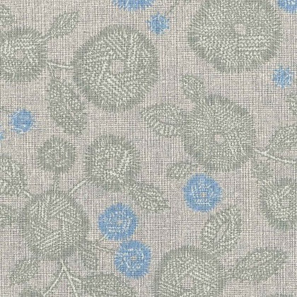 Gray Floral Linen/Cotton Sheeting
