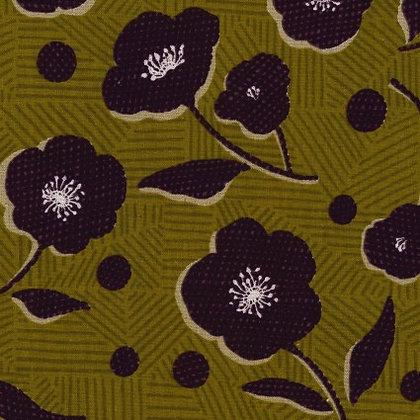 Kokka Cotton/Linen Sheeting Green Floral