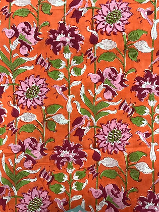 Indian Block Print Cotton Lawn Pink Floral and Birds on Orange