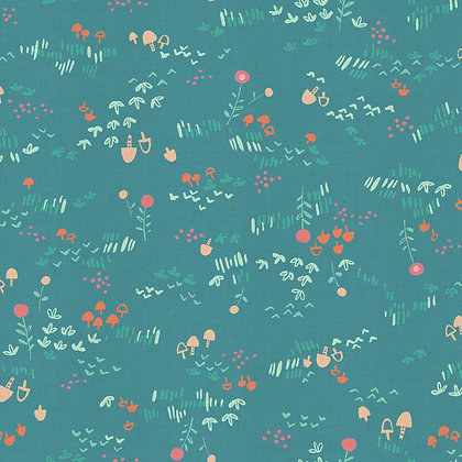 Teal cotton fabric by Cotton and Steel SALE