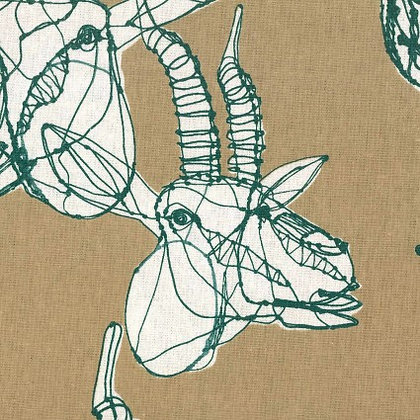 Hayu Egxa Green/Tan Deer Linen/Cotton Canvas