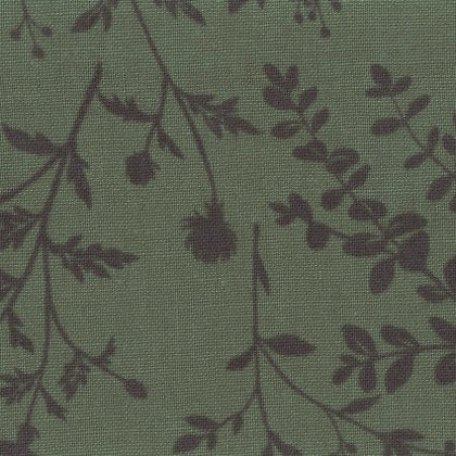 Floral Linen/Cotton Sheeting Green