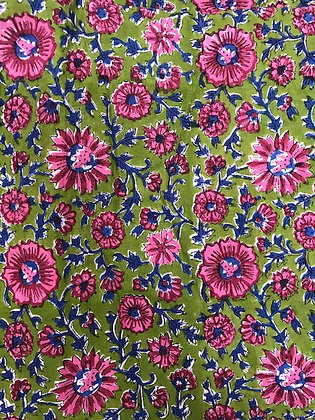 Indian Block Print Cotton Lawn Pink Floral on Green