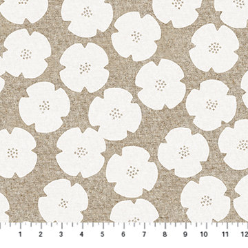 Harmony White Floral Linen/Cotton Canvas