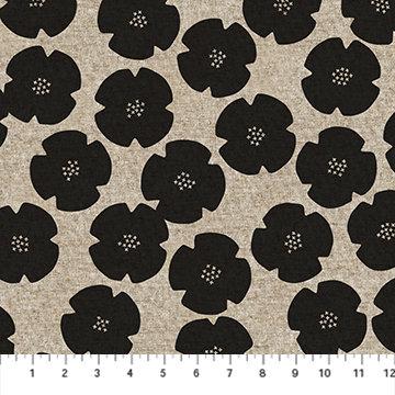 Harmony Black Floral Linen/Cotton Canvas