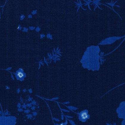 Nani Iro Double Gauze Navy and Blue Floral
