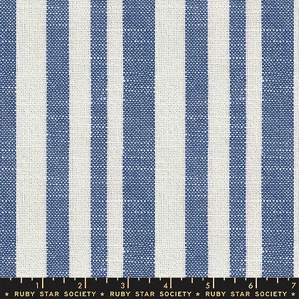 Warp Weft Heirloom Barkcloth Bluebell Stripe